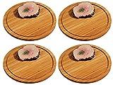 4x KESPER Fleischteller Ø 30 cm Höhe 1,3cm Bambusholz Servierteller Holzteller