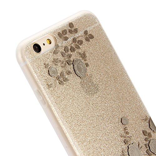 Coque Etui pour Apple iPhone 6 Plus/6S Plus, iPhone 6S Plus Coque Silicone Cerise Motif Etui, iPhone 6 Coque en Silicone Ultra-Mince Etui Housse avec Bling Diamant,iPhone 6 Plus/ 6S Plus Silicone Case Champagne Or-Rose