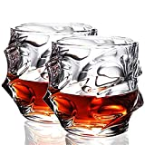 Honoen Bicchiere da Whisky Set di 4 Bicchieri da Whisky Vecchio Stile Senza Piombo Bicchiere Tumbler, Resistente, Semplice, Trasparente per Bere Bourbon, Cognac, Irish Whisky- 11 OZ