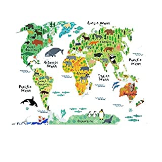 ASTrade Wallpaper Animal World Map Wall Stickers Decal Home Decoration Removable Mural DIY Decor