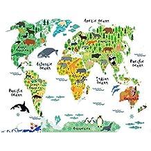 Fondo de Pantalla Mapa del Mundo Animal pegatinas de pared decorativos decoración del hogar desprendible mural de la decoración de DIY