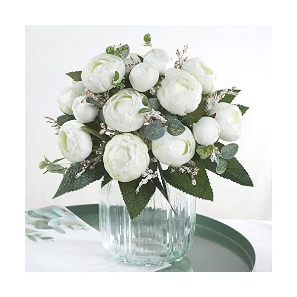 BFHCVDF Seda Té Rosas Novia Ramo De Flores Decoración del Hogar Flores Artificiales Blancas