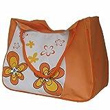 Beach Bag - Bolsa de playa, mujer, naranja, flores (33 x52 x21 cm)