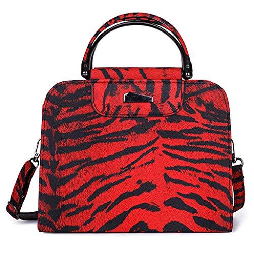 """Time Cover - Bolso de piel para mujer, diseño de leopardo rojo Talla:22cm(L) x10cm(W) x19cm(H)/8.66(L) x3.93(W) x7.48(H)"""""""