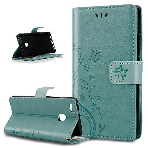 Huawei P9 Lite, P9 Huawei Lite, ikasus, motivo: floreale con farfalle, con aletta, in pelle sintetica in PU a portafoglio-Custodia a portafoglio in pelle con funzione di supporto e porta carte di cred Piccola Farfalla:verde