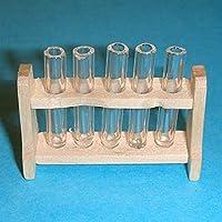 Tubes a essaie en verre détachables sur support en bois. Miniature a l'echelle 1/12ème