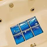 LXPAGTZ 3D kreative dauerhaft schmutzabweisend hohe Badetemperatur einfügen Persönlichkeit selbst Klebstoff Badewanne Badezimmer wasserdichte Anti-Rutsch-marine-Muster Aufkleber Blatt Größe 130 * 130 mm (5.11 * 5,11 Zoll) 6er Set #006