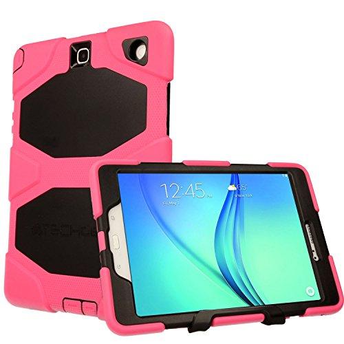 Techgear® Schutzhülle für Samsung Galaxy Tab A 24,6cm (9,7Zoll) (SM-T550Serie), robuste Schutzhülle, stoßfeste Panzer und, lange Haltbarkeit mit abnehmbarem Ständer, ideal für Schule, Kinder, Bauunternehmen rosa rose Tab A 9.7 (T550/P550 SERIES) (Samsung Tablet Tasche Griffin)
