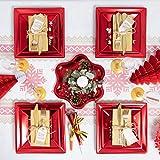 [Pack ahorro] Kit de vajilla desechable elegante con decoración de mesa para navidad ideal para fiestas - Rojo Metalizado - Incluye platos, cubiertos, copas, decoración y servilletas - 12 personas