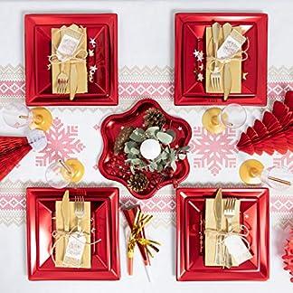 [Pack ahorro] Kit de vajilla desechable elegante con decoración de mesa para navidad ideal para fiestas – Rojo Metalizado – Incluye mantel, platos, cubiertos, copas, decoración y servilletas – 12 personas