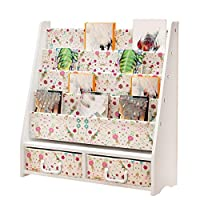 GAOQQI-Sling Bookshelf With Drawer 1Tier Toy Shelf 4-Tier Bookshelf Wooden Storage Rack Floor-standing Childrens Bookcase, 6 Colors (Color : White-B83X28X87cm)