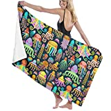 xcvgcxcvasda Beach Towels Decor Rainbow Octopus Squid Jellyfish Serviette de Bain,s for Bathroom Hotel SPA Kitchen Soft, High Absorbent, Eco-Friendly Printed Serviette de Bain,Quick Dry 31.5'x51.2'in