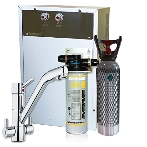 Wasserfilter System ForHome® für die küche Kühler Karbonator Wasseraufbereiter Mikrofiltrations Wasser Everpure von Spüle, gekühlte Kühlwasser Sprudelwasser mit 4-Wege Hahn +1 CO2-Zylinder -