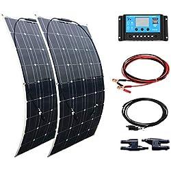 XINPUGUANG 200W Système solaire kit 2pcs 100w Panneau solaire flexible Monocristallin Cellule Module 20A USB Contrôleur MC4 Câble pour bateau RV camping car voiture 12v batterie