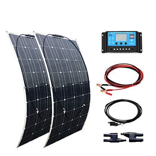 XINPUGUANG 200W 12v Système solaire kit 2pcs 100w Panneau Solaire flexible Monocristallin Cellule Module 20A USB Contrôleur MC4 Câble pour bateau RV camping car voiture 12v batterie
