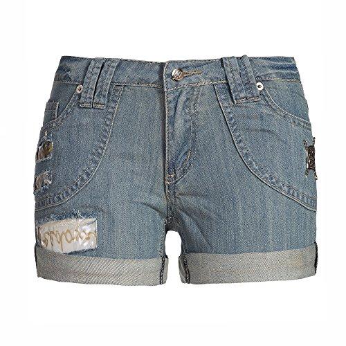 Jeans Hot Pants mit Aufnähern Shorts mit Löchern und Fetzen Destroyed Look S M L Jeansblau