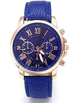 JSDDE Uhren,Neue Damenmode Genf roemischen Ziffern-Leder Analog Quarz Armbanduhren(Dunkelblau)