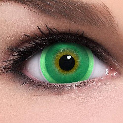Linsenfinder Lenzera Circle Lenses grüne 'Royal Green' ohne Stärke + Behälter Big Eyes 15mm farbige Kontaktlinsen