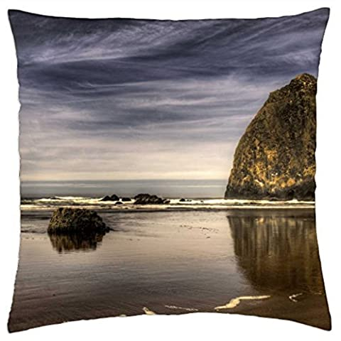 large boulders on a beach hdr - Throw Pillow Cover Case (18