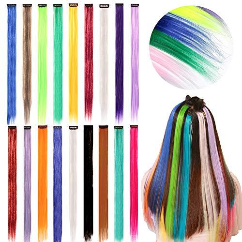aarverlängerungs Clip Regenbogen Farbe Gerade Synthetisch Haarteil für Mädchen und Kinder Strähnchen Clip 18 Farben ()