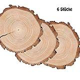 ToBeIT 6 Stücke Holzscheiben 12-14cm Holz Scheiben Verzierung DIY Handwerk
