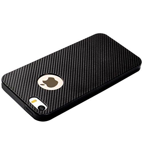 MOONCASE iPhone SE /5S Hülle, Karbon Elastisch Fallschutz Anti-Scratch Rugged Armor Defender TPU Case Tasche Schutzhülle für iPhone 5 / 5S / iPhone SE Schwarz Schwarz