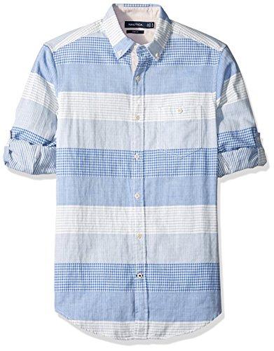 Nautica Men's Long Sleeve Horizontal Stripe Button Down Shirt (Roll Stripe Shirt Sleeve)