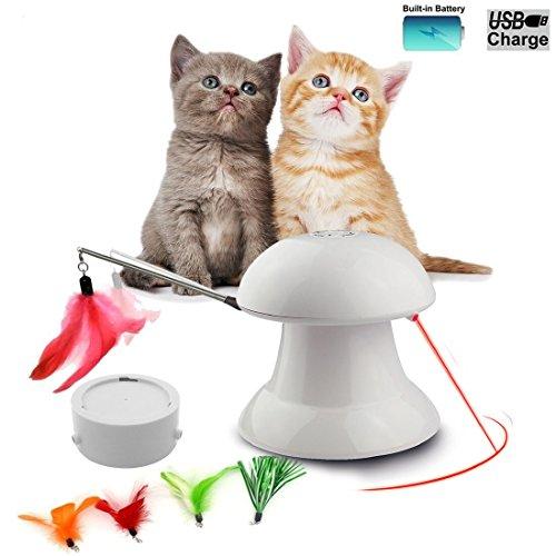 FIRIK Katzenspielzeug interaktives automatisches drehendes Licht-Übungs-Spielzeug für Kleine Mittlere große Katzen - Verbessern Sie Neues Weiß