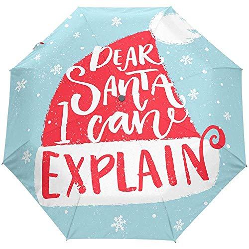 Weihnachtsmann Mütze Schneeflocke Auto Regenschirm Winddicht, Reise Robust UV-Schutz Regenschirm Sonnen- und Regenschirme für Männer Frauen, Automatisches Öffnen und Schließen