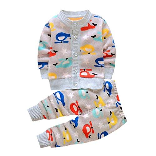Sannysis Babykleidung Neugeborenen Baby Mädchen Jungen Cartoon Print Tops + Hosen Outfits Kleidung Set 6-24Monat (90, Grau)