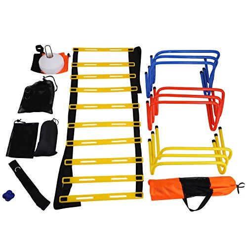 Oldriver Calcio Libero Manichini Calcio Formazione Equipment Obiettivi Con Scala Agilità Ladder Salto Lattice Per Esercizio Allenamento (Scaletta)