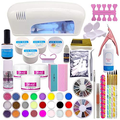chaud Fille Acrylique UV Gel Poudre Professional Lot de 9 W UV Blanc Linge lampe 24 Couleur Poudre acrylique Strass Nail Art outils