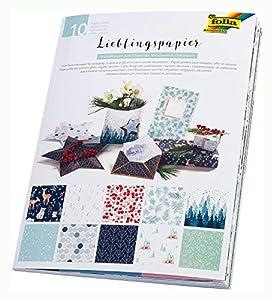 Folia 37002 Lieblingspapier Winter, Papel Impreso por una Cara, 80 g/m², Hojas en 10 diseños Diferentes, Aprox. 50 x 70 cm