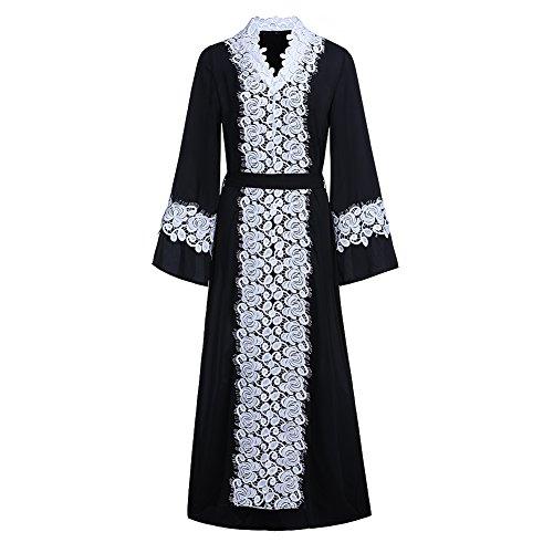 Dreamskull Muslime Muslim Abaya Dubai Kleid Muslimisch Islamisch Arab Arabisch Indien Türkisch Casual Abendkleid Abendmode Kaftan Kleidung Maxikleid A Linie Spitze Lace Dress Damen Frauen (XL)