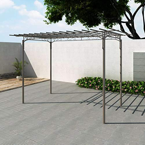 Ubaymax arco pergola da giardino,arco decorativo da giardino,ferro nero per piante rampicanti traliccio pergolato,supporto per piante e fiori rampicanti, sostegno per rose,in acciaio,190 * 320cm