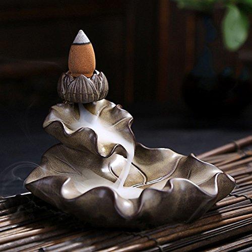 strimusimak Vintage Lotus Leaf Design Rauch Rückfluss Kegel Ornament Weihrauch Räuchergefäß Brenner Home Decor - Leaf Weihrauch