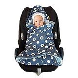 Baby Einschlagdecke Maxi cosi, Babyschale, Fußsack für Kinderwagen - für Winter aus Minky/Baumwolle SWADDYL (Old blue)