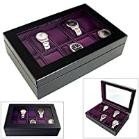 Aston of LondonŽ Limited Edition 10 Watch Wooden Display Case with Java Black Finish and Purple Velour Interior