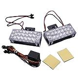 TOOGOO(R) 2 x 22 LED Auto Luce di emergenza lampeggiante Lampadina a bruciatore a griglia 12V rosso / blu