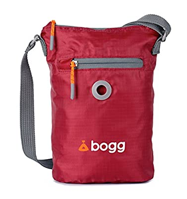 Bogg - Dog poo bag dispenser and waste carrier. Durable, modern, ripstop fabric. Rainproof, lightweight and foldaway. Holder Red