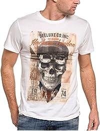 Deeluxe 74 - Tee-shirt homme blanc imprimé tête de mort