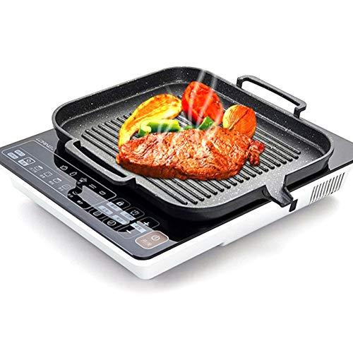 Style a bistecchiera in ghisa per barbecue - piastra antiaderente, griglia, padella con vassoio portatile, piatto per pancake, piano cottura a induzione elettrica, piano cottura a gas