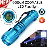 Lampes Torches,Xinan 6000LM CREE Q5 AA/14500 3 Modes Zoomable LED Super Lumineuse Mini Lampes Torches (Bleu, 1 pc)