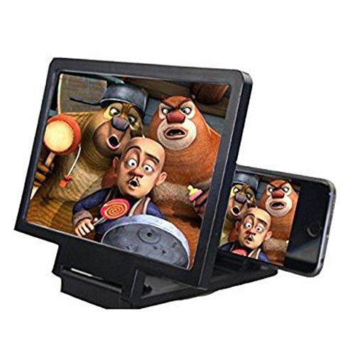 Shineus, lente d'ingrandimento universale mobile 3D per smartphone, protezione per gli occhi con pratico supporto pieghevole per iPhone, colore: nero.
