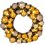 Adventskranz Weihnachtskranz mit Kugeln, Ø 39 cm, gold, LED-Beleuchtung, Batteriefach, LILIMO ®