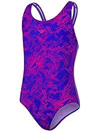 Speedo Allover Splashback Bañador, Niñas, Azul Croma Boom/Rosa eléctrico, 34
