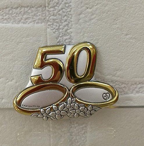 Oggettistica per bomboniere 6 pezzi spilla piccola in argento laminato 50 anni di matrimonio nozze d