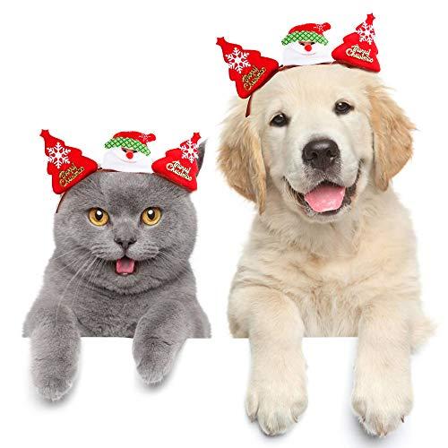 (Tie langxian Haustier Katze Weihnachten Kopfschmuck Haustier Kopfbedeckung Kostüm für Katzen Haarzubehör (Weihnachtsmann,S))