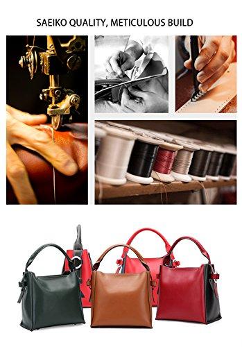 SAIERLONG Nuovo Donna Vino rosso Vera Pelle Borse Tracolle Grande Rosso