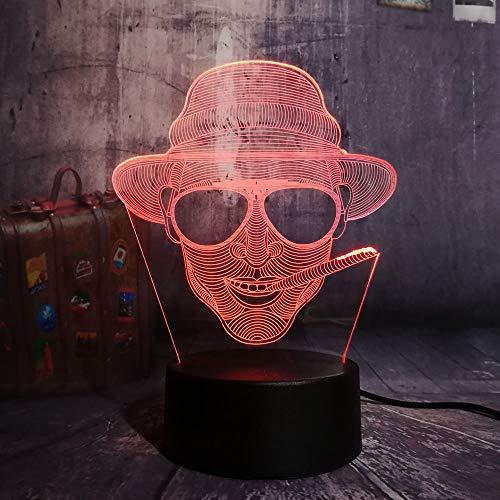 Cool Smoking Man Mit Brille Usb 3D Led Nachtlicht Remote Desk Lampe Beleuchtung Für Halloween Bar Dekorationen Geschenk Für Kinder